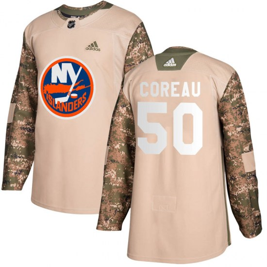 Jared Coreau New York Islanders Youth Authentic Veterans Day Practice Adidas Jersey - Camo